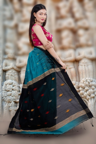 Teal Blue Hand Woven Blended Cotton Saree With Gicha Work 2