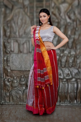White and Red Hand Woven Blended Cotton Saree