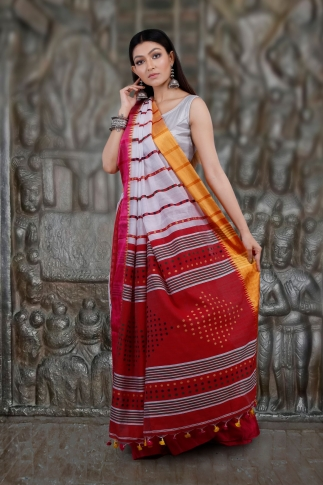 White and Red Hand Woven Blended Cotton Saree 1