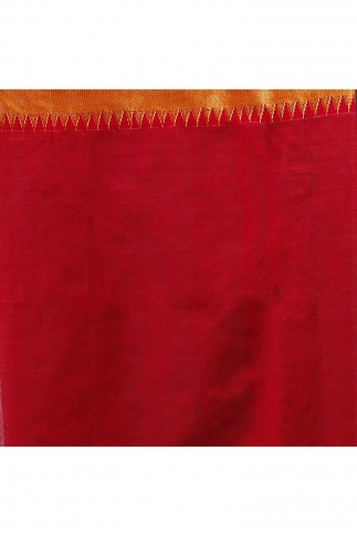 White and Red Hand Woven Blended Cotton Saree 2