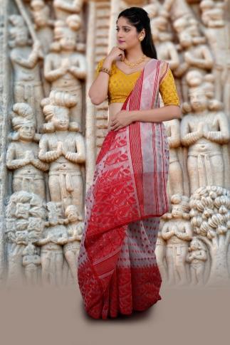Hand Woven Bengal Dhakai Jamdani White and Red 1