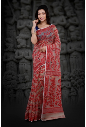 Bengal Handloom Beige and Red Hand Woven Blended Cotton Jamdani Saree