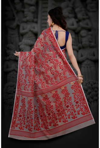 Bengal Handloom Beige and Red Hand Woven Blended Cotton Jamdani Saree 2