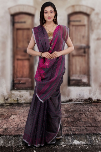 Grey Hand Woven Blended Cotton Jamdani Saree
