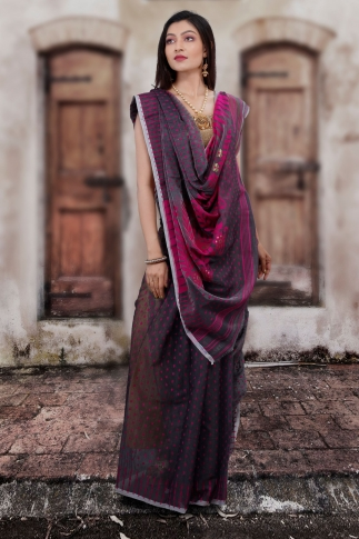 Grey Hand Woven Blended Cotton Jamdani Saree 1