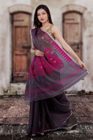 Grey Hand Woven Blended Cotton Jamdani Saree 2