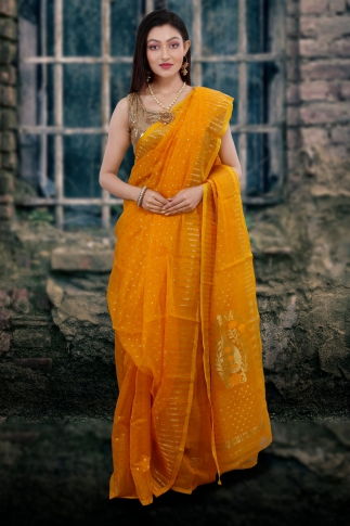 Yellow Hand Woven Blended Cotton Jamdani Saree With Zari Work