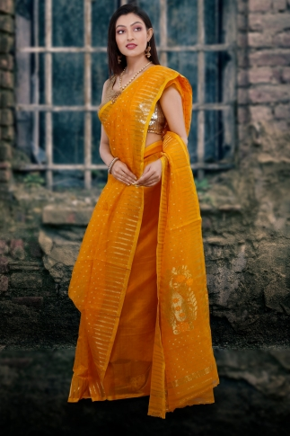 Yellow Hand Woven Blended Cotton Jamdani Saree With Zari Work 1