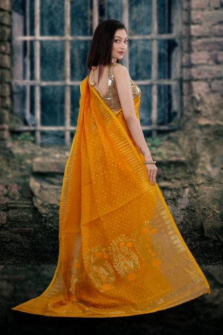 Yellow Hand Woven Blended Cotton Jamdani Saree With Zari Work 2