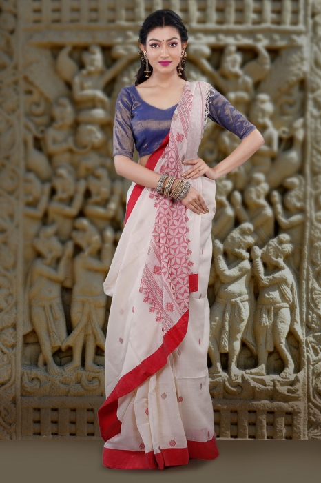 White With Red Border Hand Woven Tussar Saree Fabricated on Tussar Cotton
