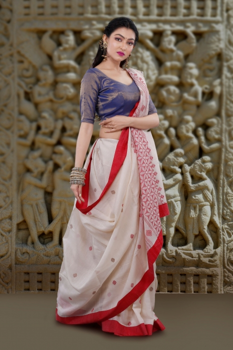 White With Red Border Hand Woven Tussar Saree Fabricated on Tussar Cotton 1