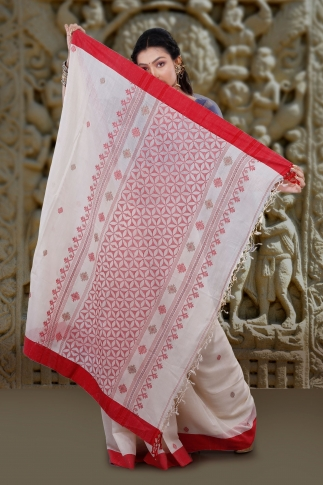 White With Red Border Hand Woven Tussar Saree Fabricated on Tussar Cotton 2