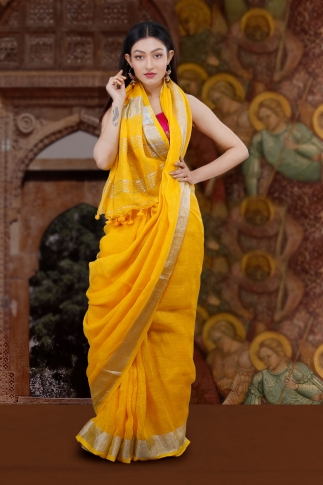 Hand Woven Yellow Pure  Linen Saree With Silver Zari Border and Running Blouse