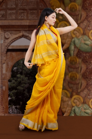 Hand Woven Yellow Pure  Linen Saree With Silver Zari Border and Running Blouse 1