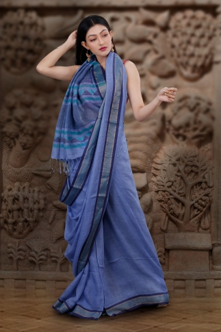 Hand Woven Blue Pure Linen Saree With Jamdani Work and Runing  Blouse