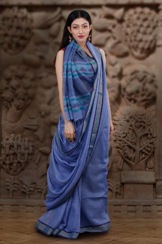 Hand Woven Blue Pure Linen Saree With Jamdani Work and Runing  Blouse 1
