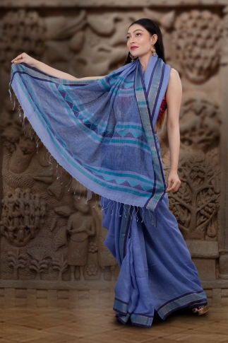 Hand Woven Blue Pure Linen Saree With Jamdani Work and Runing  Blouse 2