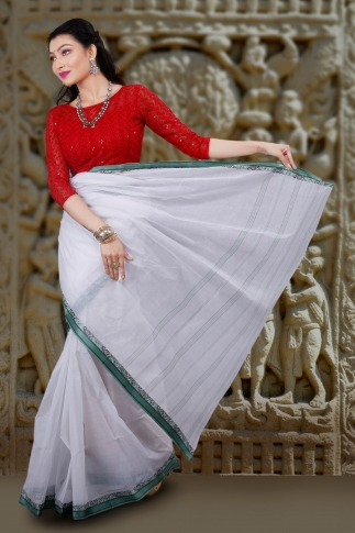 Hand Woven Bengal Tant Tangail White and Green Pure Cotton Saree 2