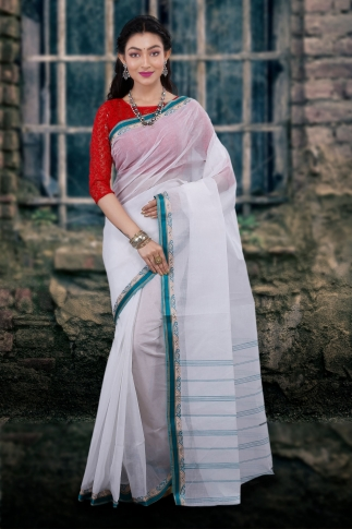Hand Woven Bengal Tant Tangail White and Green Pure Cotton Saree