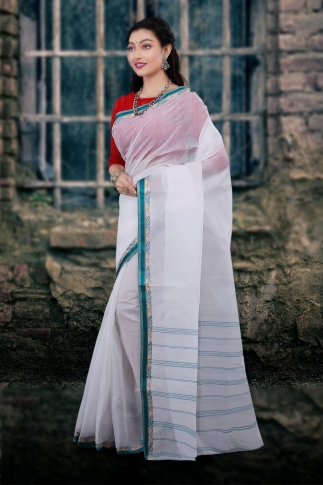 Hand Woven Bengal Tant Tangail White and Green Pure Cotton Saree 1