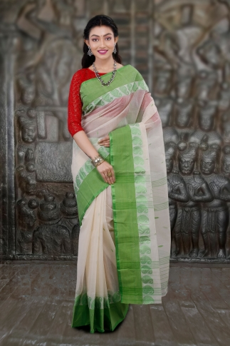 Hand Woven Bengal Tant Tangail White and Light Green Pure Cotton Saree