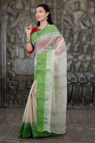 Hand Woven Bengal Tant Tangail White and Light Green Pure Cotton Saree 1