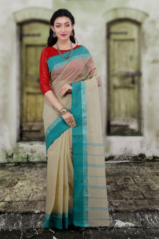 Hand Woven Bengal Tant Tangail Light Beige with Green Checks Pure Cotton Saree