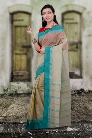 Hand Woven Bengal Tant Tangail Light Beige with Green Checks Pure Cotton Saree 1