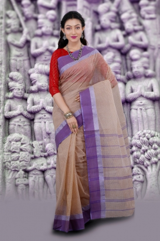 Hand Woven Bengal Tant Tangail Light Beige with Purple Checks Pure Cotton Saree