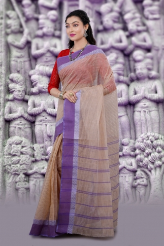 Hand Woven Bengal Tant Tangail Light Beige with Purple Checks Pure Cotton Saree 1