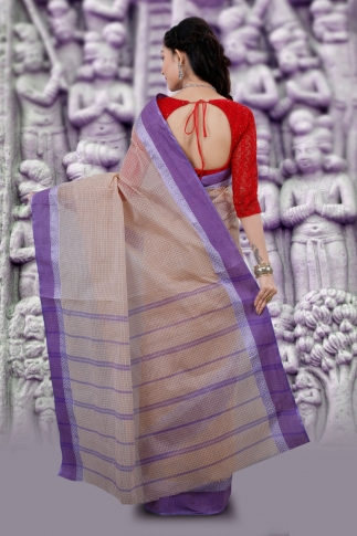 Hand Woven Bengal Tant Tangail Light Beige with Purple Checks Pure Cotton Saree 2