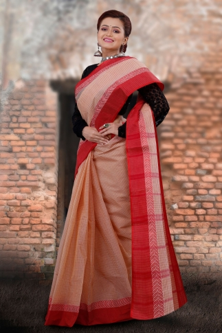 Beige Bengal Tant Hand Woven Pure Cotton Saree With Red Border