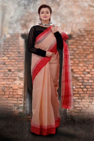 Beige Bengal Tant Hand Woven Pure Cotton Saree With Red Border 1