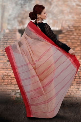 Beige Bengal Tant Hand Woven Pure Cotton Saree With Red Border 2