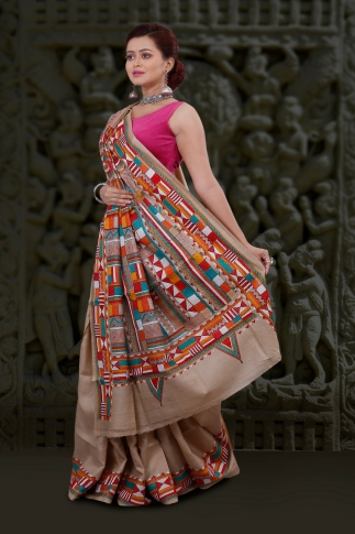 Natural Colour And Multi Thead Work Kantha Stitched Saree Fabricated on Tassur Silk 1