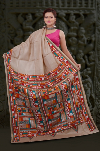 Natural Colour And Multi Thead Work Kantha Stitched Saree Fabricated on Tassur Silk 2