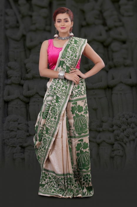 Bengal Handloom Tussar Kantha Saree Work with Green Colour Thread