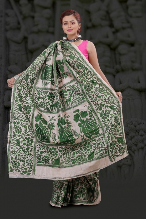 Bengal Handloom Tussar Kantha Saree Work with Green Colour Thread 2