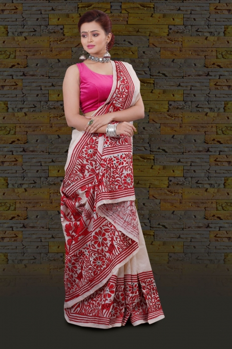 Bengal Handloom Tussar Kantha Saree Work with Red Colour Thread