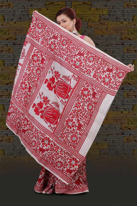 Bengal Handloom Tussar Kantha Saree Work with Red Colour Thread 2