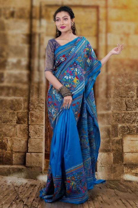 Blue body with Multicolor Kantha Stitched Saree Fabricated on Bangalore Silk