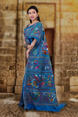 Blue body with Multicolor Kantha Stitched Saree Fabricated on Bangalore Silk 1