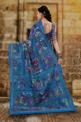 Blue body with Multicolor Kantha Stitched Saree Fabricated on Bangalore Silk 2