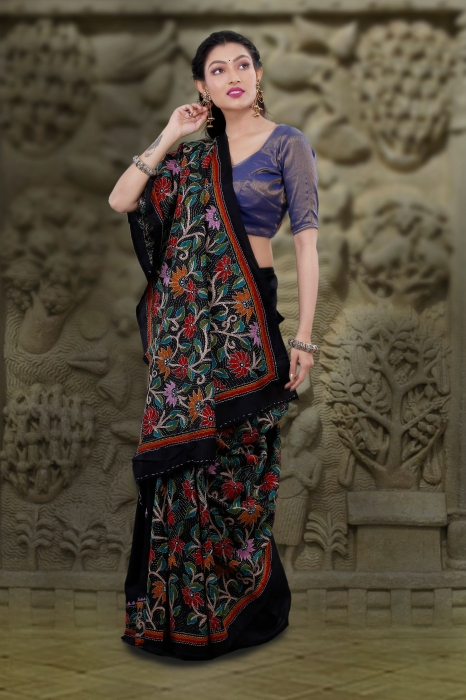 Black body with Multicolor Kantha Stitched Saree Fabricated on Bangalore Silk
