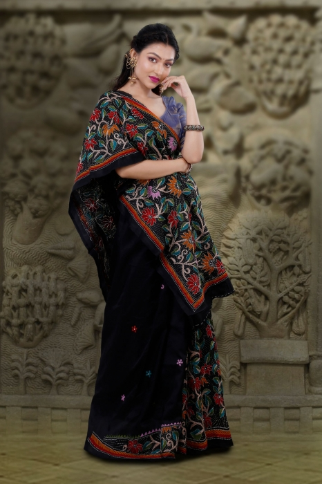 Black body with Multicolor Kantha Stitched Saree Fabricated on Bangalore Silk 1