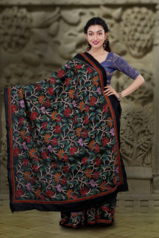 Black body with Multicolor Kantha Stitched Saree Fabricated on Bangalore Silk 2