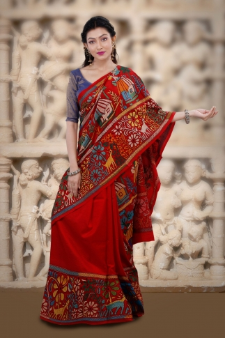 Red body with Multicolor Kantha Stitched Saree Fabricated on Bangalore Silk