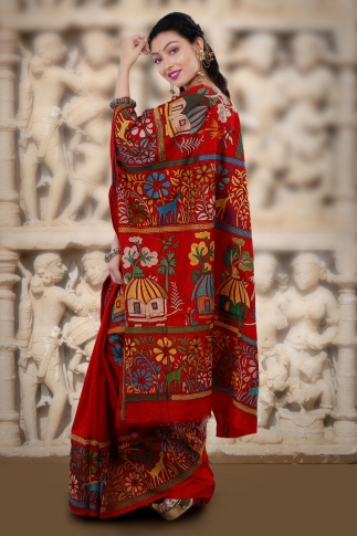 Red body with Multicolor Kantha Stitched Saree Fabricated on Bangalore Silk 1