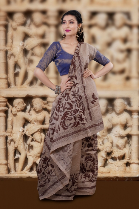 Natural and Multicolor Kantha Stitched Saree Fabricated on Tassur Silk 1