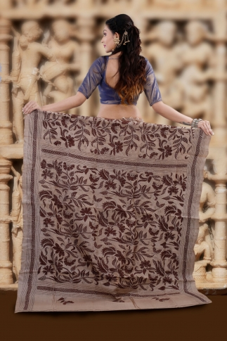 Natural and Multicolor Kantha Stitched Saree Fabricated on Tassur Silk 2